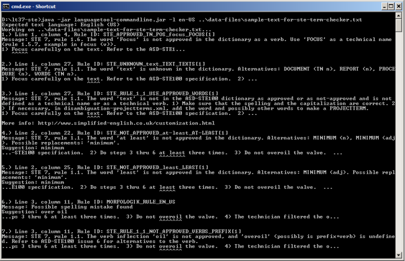 Windows command-line program running the term checker with sample text