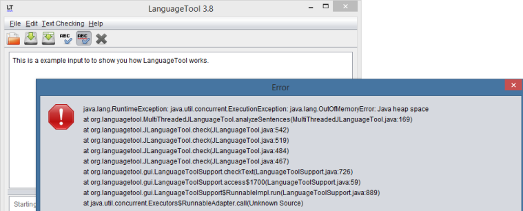 LanguageTool starts, but there is a heap space error
